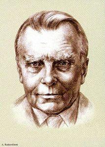 Retrato de Milosz, un dibujo realizado en 2011 para una estampilla de correos conmemorativa